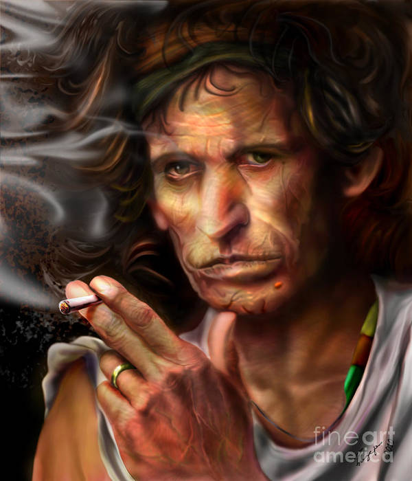 Keith Richards Poster featuring the painting Keith Richards1-burning Lights 4 by Reggie Duffie
