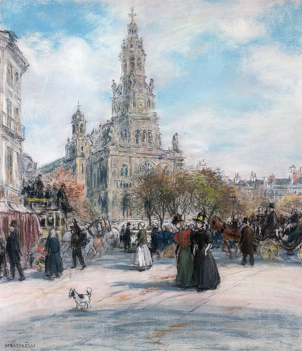 Paris Poster featuring the pastel La Place De Trinite by Jean Francois Raffaelli