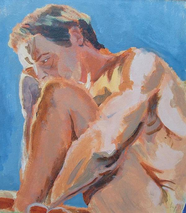 Male Nude Poster featuring the painting Male Nude Painting by Mike Jory