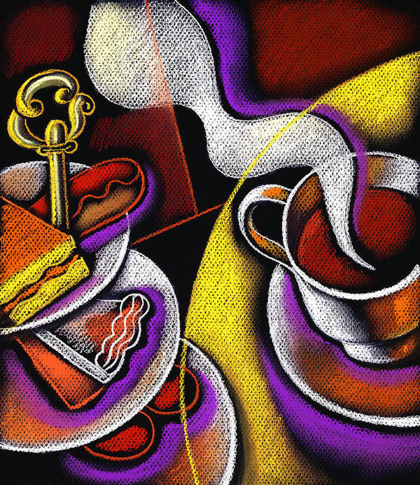 Appetite Baked Goods Coffee Coffee Cup Coffeepot Color Color Image Colour Cup Daytime Dish Drawing Drink Food Food And Drink Fulfilling Group High Angle High Angle View Illustration Illustration And Painting Morning Muffin Nobody Pot Relaxation Resting Satisfaction Saucer Small Group Of Objects Steam Steaming Tea Teacup Teapot Thirst Thirsty Vertical Poster featuring the painting My Morning Coffee by Leon Zernitsky