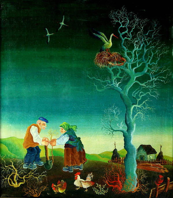 Garden Gardener Gardening Green Living Growing Growth Couple Husband Illustration Illustration And Painting Kneeling Man Mature Adult Mature Couple Nature Nurturing Outdoors People Planting Sustainability Together Tree Two People Watering Watering Can Wife Woman Working Together Accountable Bending Caring Conservation Couple Cultivation Female Grow Male Nurture Obligation Outside Person Pleasure Proud Spouse Togetherness Two Western European Old Village Country Chicken Birds Decorative Naive Poster featuring the painting My Old Village by Leon Zernitsky