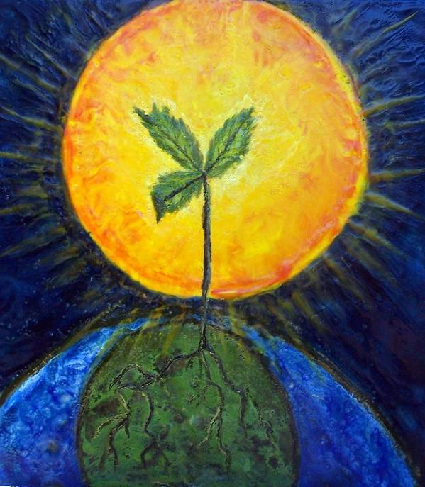Sun Poster featuring the painting New Thought by Karla Phlypo-Price