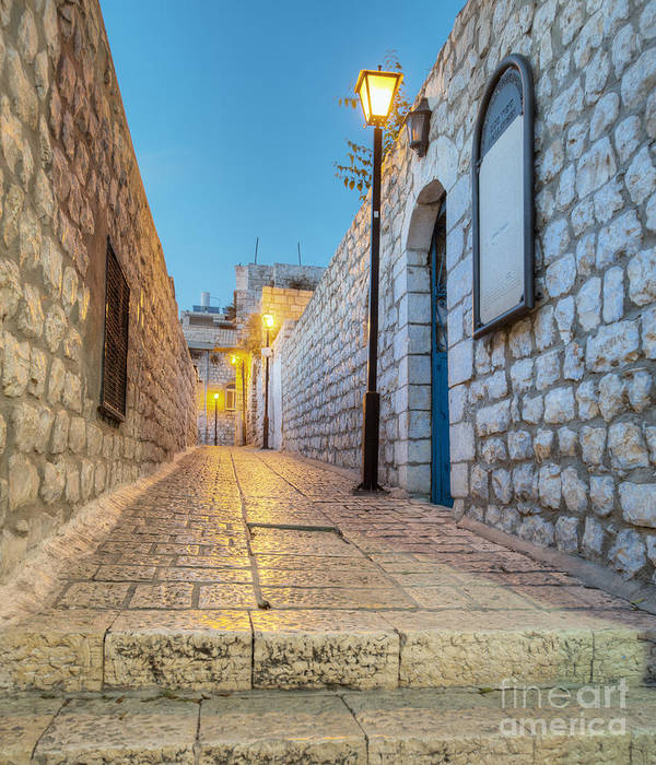 Alley Poster featuring the photograph Old Stone Alleyway With Electric Lights by Noam Armonn