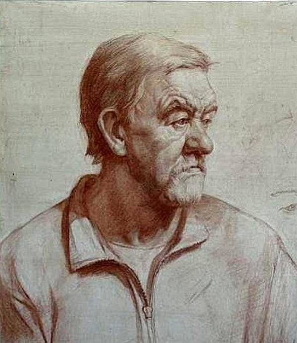 Old Man Drawing Portrait Poster featuring the drawing Portrait Of Elderly Man by Olga Bukh