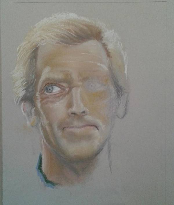 Drawing Portret Pastel Poster featuring the painting Portret 4 by Angel Angelov