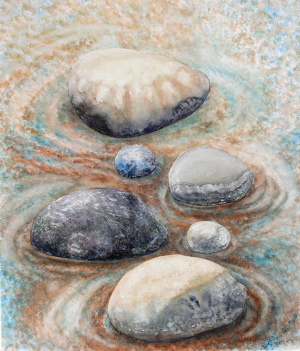 Abstract Poster featuring the painting River Rock 2 by Valerie Meotti