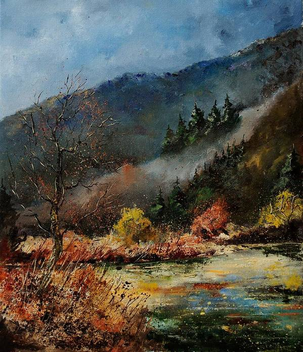 River Poster featuring the painting River Semois by Pol Ledent