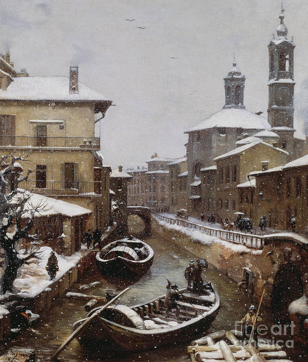 Venetian Poster featuring the painting Saint Sophia Canal Covered In Snow by Angelo Inganni