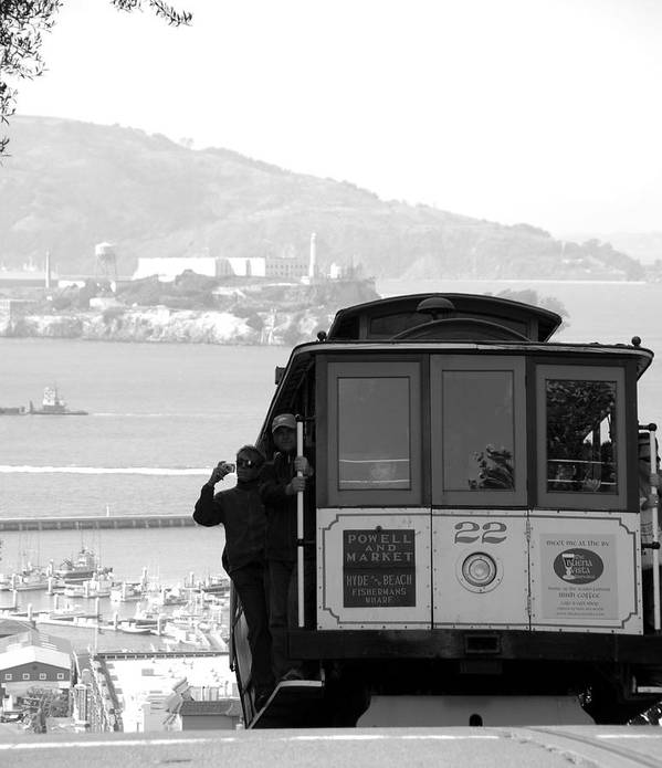 San Francisco Cable Car Poster featuring the photograph San Francisco Cable Car With Alcatraz by Shane Kelly