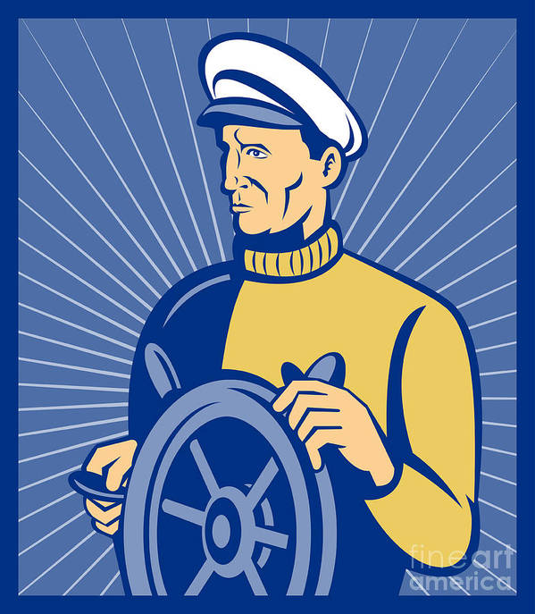 Captain Poster featuring the digital art Ship Captain At The Helm by Aloysius Patrimonio