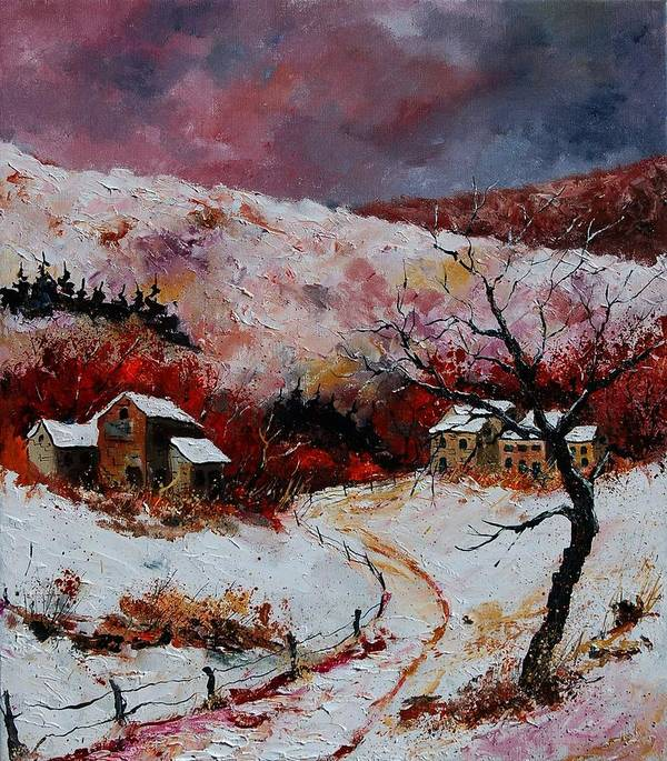 Snow Poster featuring the painting Snow In The Ardennes 78 by Pol Ledent