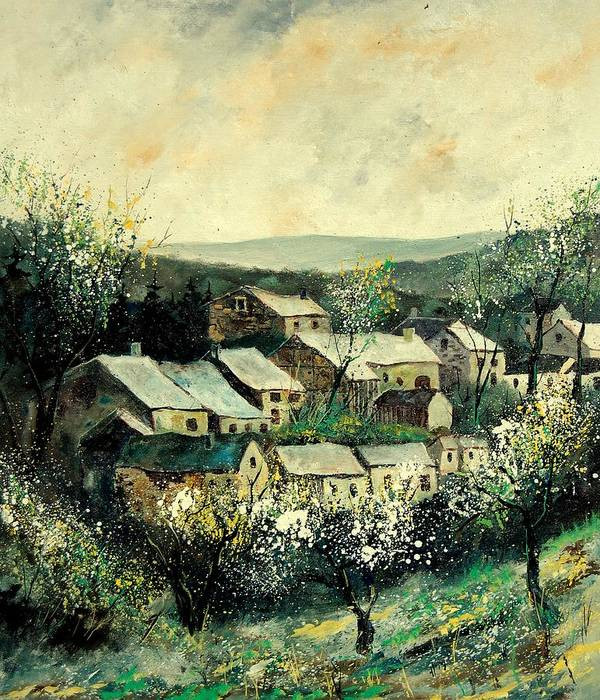 Spring Poster featuring the painting Spring In The Ardennes Belgium by Pol Ledent