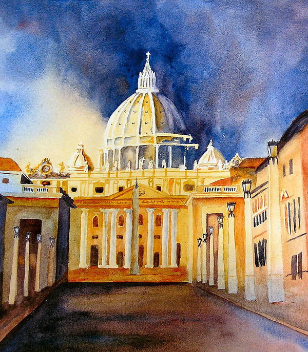 Vatican Poster featuring the painting St. Peters Basilica by Karen Stark