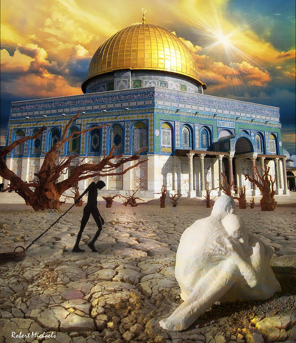 Poster featuring the photograph Stolen Light-dome Of The Rock Temple Mount by Robert Michaels