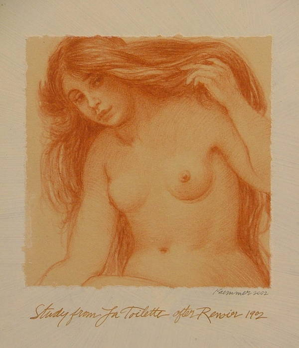 Female Poster featuring the painting Study From La Toilette After Renoir by Gary Kaemmer