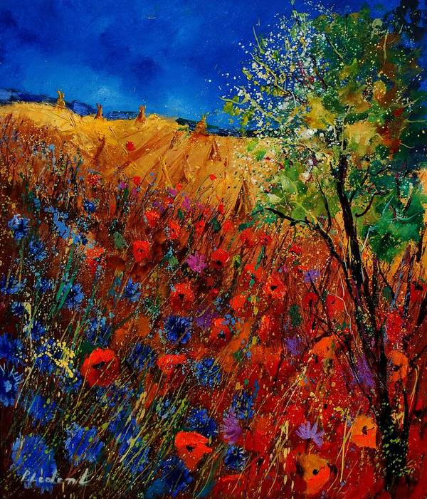 Flowers Poster featuring the painting Summer Landscape With Poppies by Pol Ledent