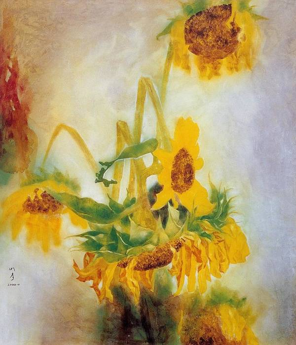 Flower Painting Poster featuring the painting Sun Flowers No.2 by Minxiao Liu