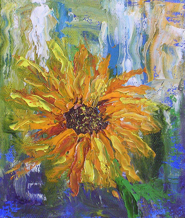 Sunflower Poster featuring the painting Sunflower Abstract by Barbara Harper