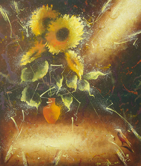 Still Life Poster featuring the painting Sunflowers by Andrej Vystropov