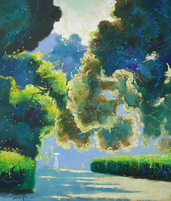 Landscape Poster featuring the painting Sunny Noon by Andrej Vystropov