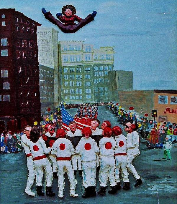 Street Poster featuring the relief The Blanket Toss by Richard Hubal