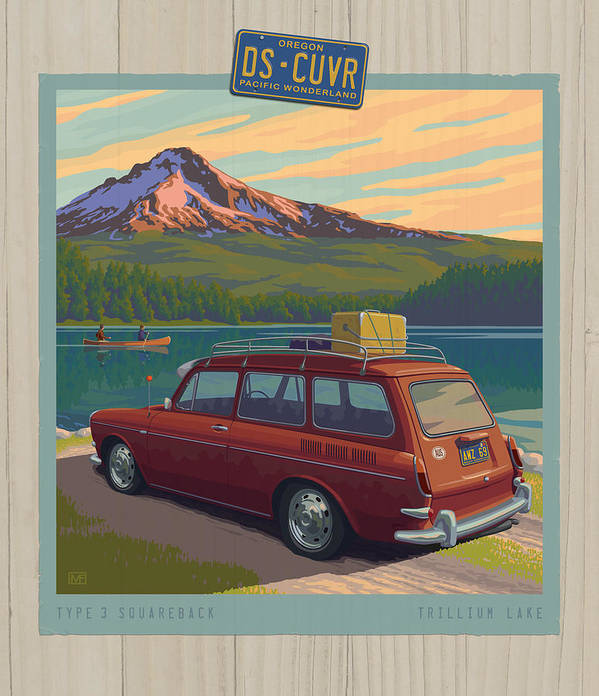 Mount Poster featuring the digital art Vintage Squareback At Trillium Lake by Mitch Frey