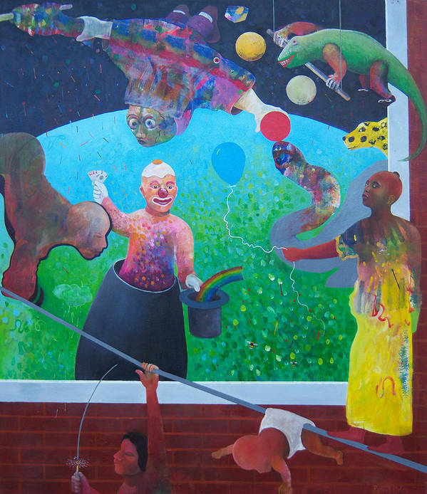 Human Relationships Poster featuring the painting Welcome To Circus Earth by Richard Heley