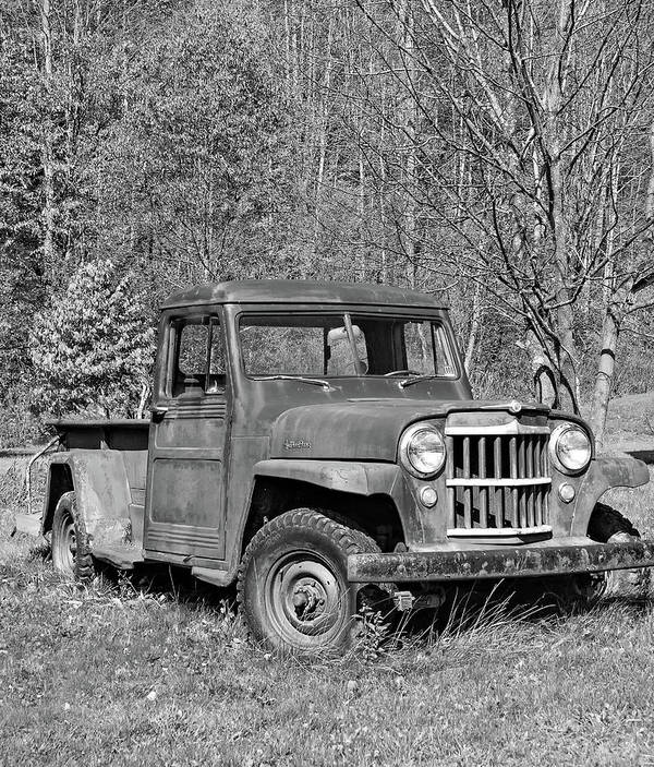 Vehicle Poster featuring the photograph Willys Jeep Pickup Truck Monochrome by Steve Harrington