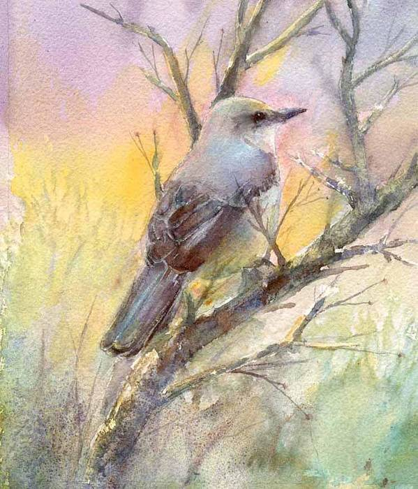 Nature Poster featuring the painting Winter Morning - Mockingbird by Elizabeth Evans