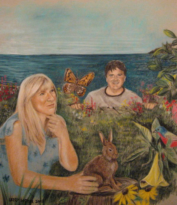 Robin And The Giant Poster featuring the pastel Wonder World by Larry Whitler