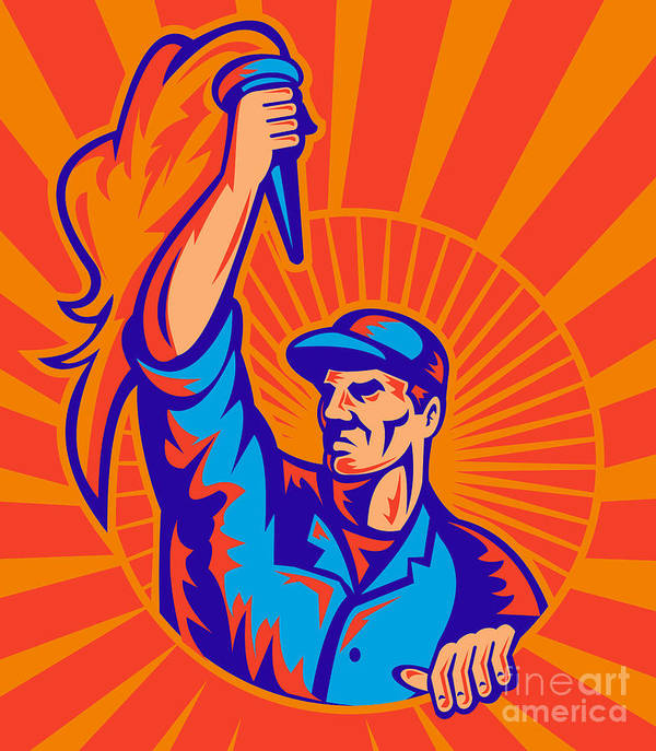 Worker Poster featuring the digital art Worker Carrying Flaming Torch Sunburst by Aloysius Patrimonio