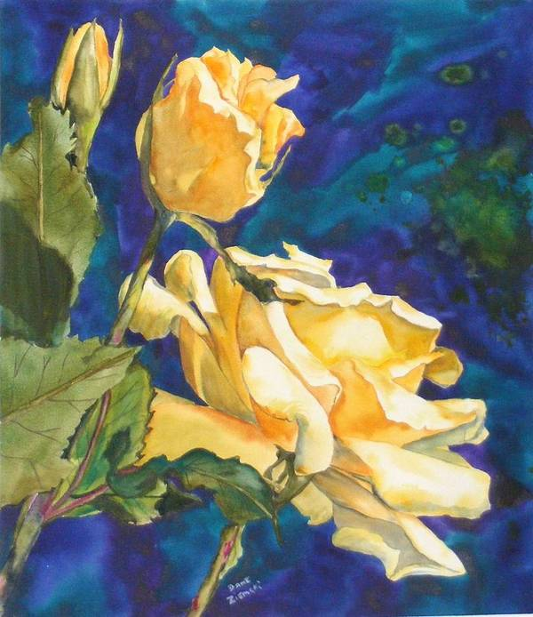 Poster featuring the painting Yellow Rose After Texas by Diane Ziemski