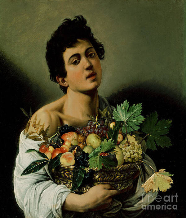 Youth With A Basket Of Fruit Poster featuring the painting Youth With A Basket Of Fruit by Michelangelo Merisi da Caravaggio