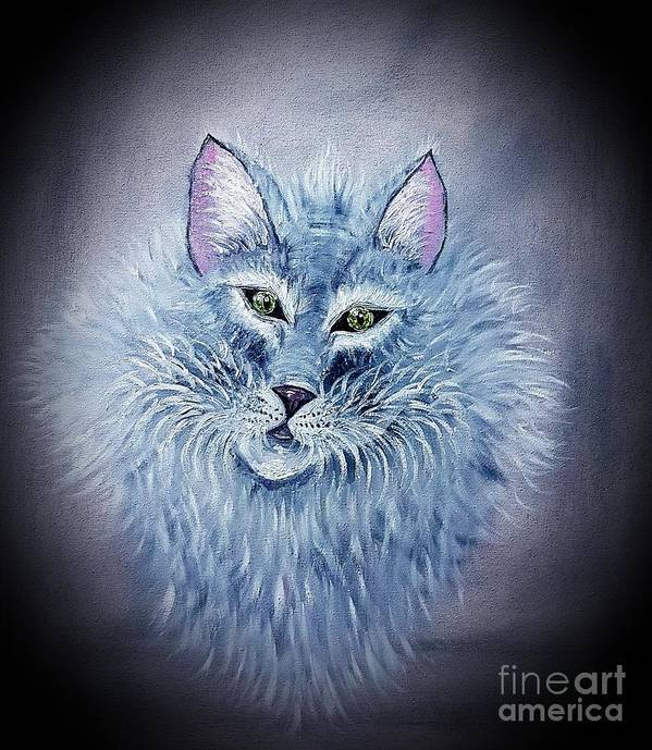 Cat Poster featuring the painting Fluff The Elegant Cat by Angela Whitehouse
