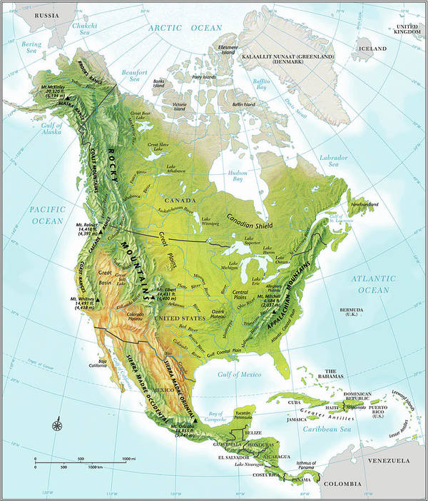 North America Continent Map, Relief Poster