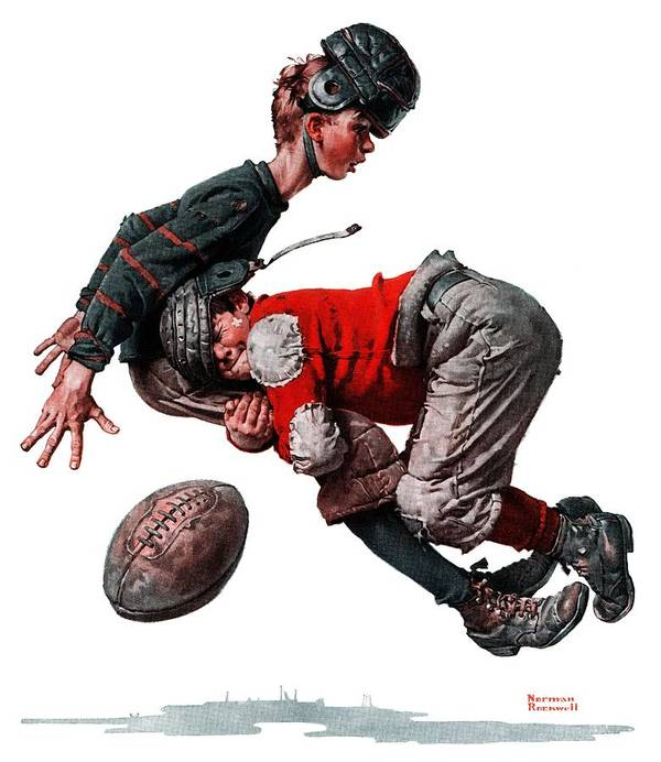 Boys Poster featuring the drawing Tackled by Norman Rockwell