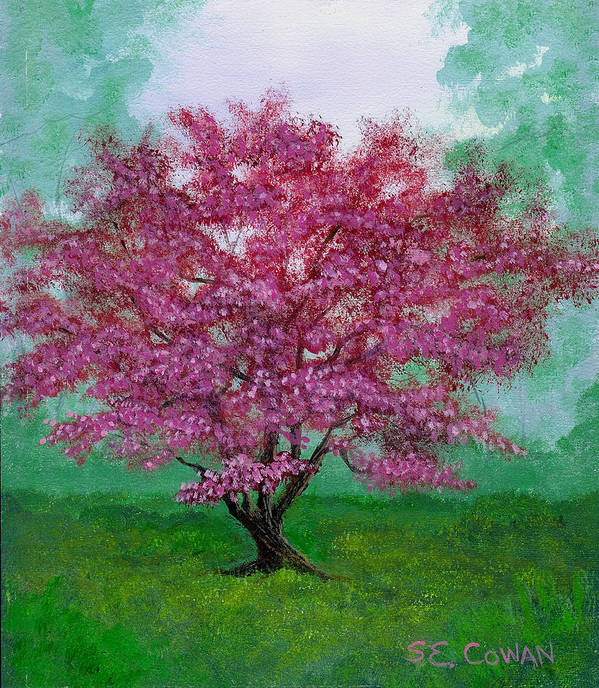 Landscape Poster featuring the painting Crabapple by SueEllen Cowan