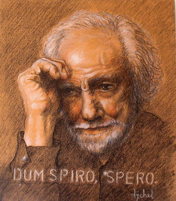 Old Man Poster featuring the painting Dum Spiro Spero by Ixchel Amor