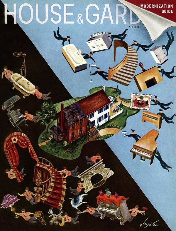 Illustration Poster featuring the photograph A House And Garden Cover Of People Moving House by Constantin Alajalov