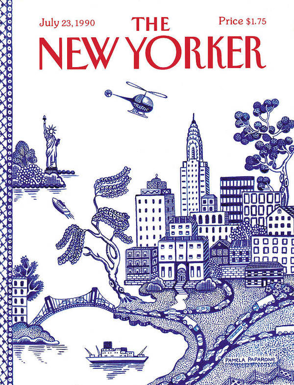 New York City Poster featuring the painting New Yorker July 23, 1990 by Pamela Paparone