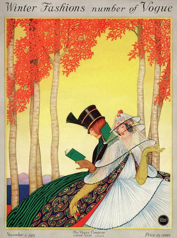 Illustration Poster featuring the photograph A Vogue Cover Of Women Sitting In A Forest by George Wolfe Plank