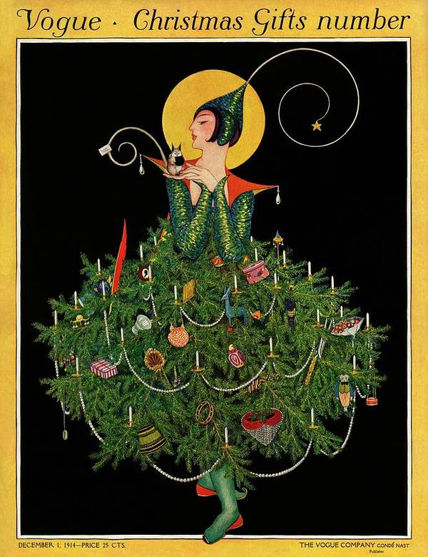 Illustration Poster featuring the painting A Woman Dressed As A Christmas Tree by Artist Unknown