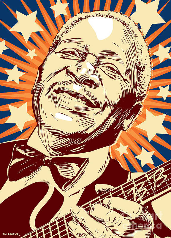 Blues Poster featuring the digital art B. B. King by Jim Zahniser