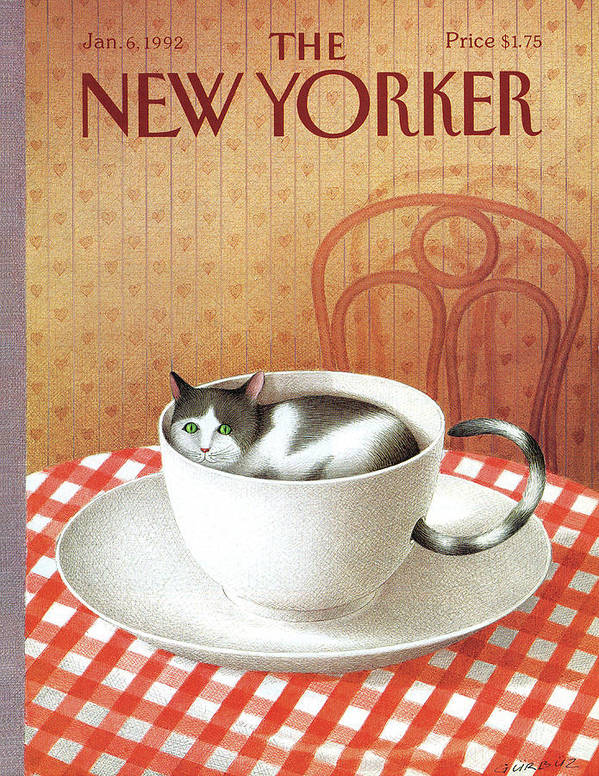 Cat Poster featuring the painting Cat Sits Inside A Coffee Cup by Gurbuz Dogan Eksioglu