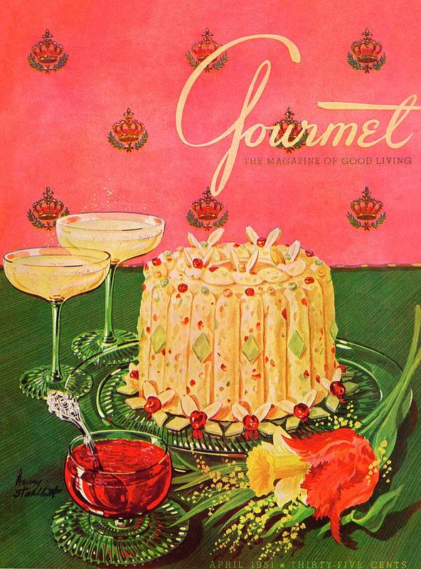 Illustration Poster featuring the photograph Gourmet Cover Illustration Of A Molded Rice by Henry Stahlhut