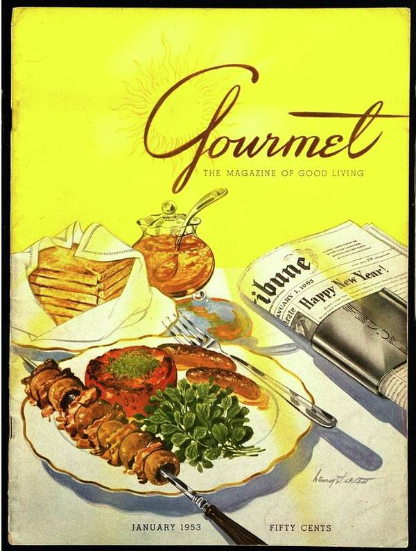 Illustration Poster featuring the photograph Gourmet Cover Illustration Of Grilled Breakfast by Henry Stahlhut