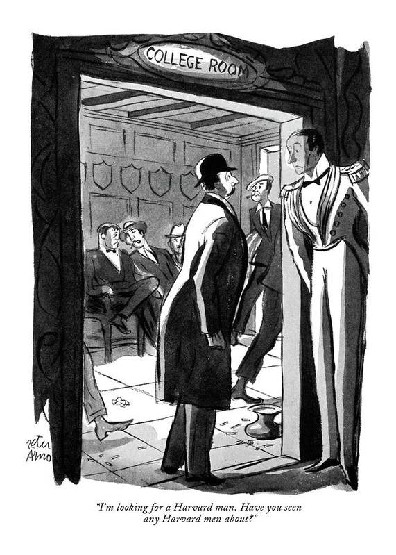 Hotel Poster featuring the drawing I'm Looking For A Harvard Man. Have You Seen Any by Peter Arno