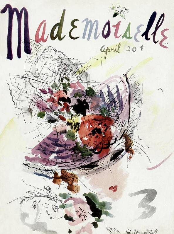 Fashion Poster featuring the photograph Mademoiselle Cover Featuring An Illustration by Helen Jameson Hall