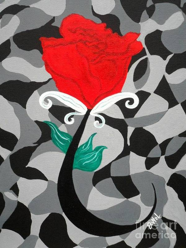 Rose Poster featuring the painting Mosaic Rose-Red by JoNeL Art