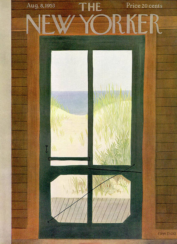 Sea Poster featuring the painting New Yorker August 8th, 1953 by Edna Eicke